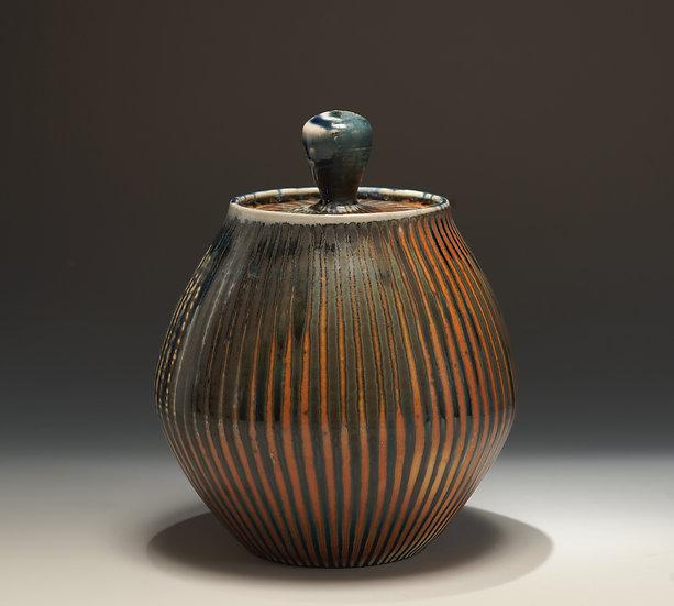 Blue Black Stripe Lidded Jar