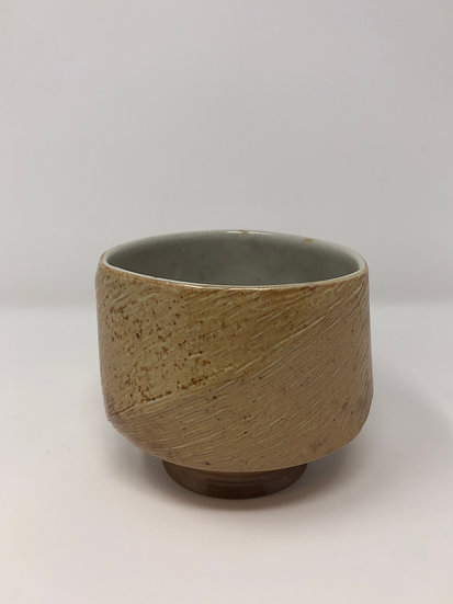 Salt Fired Twisted Triangular Textured Teabowl 1