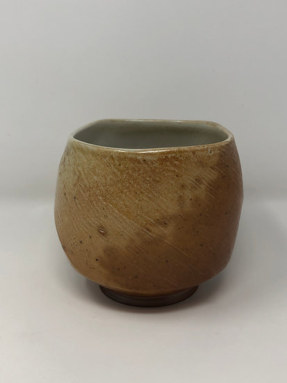 Salt Fired Twisted Square Textured Teabowl 1