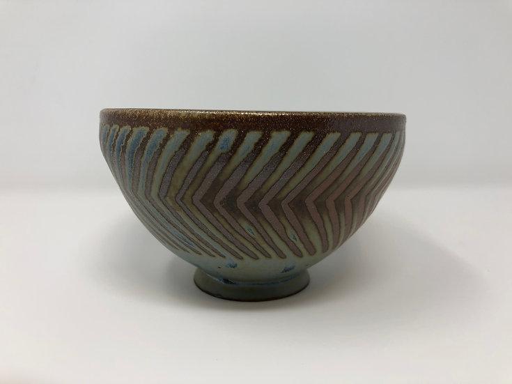 Blue Chevron Bowl 1 - Small