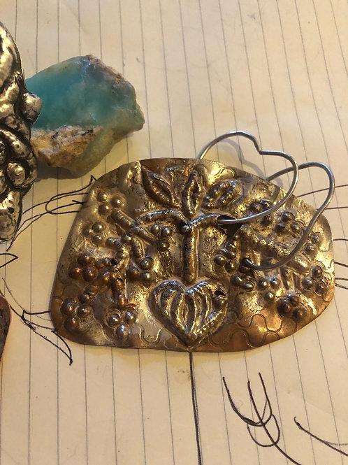 Pomegranate in copper and silver