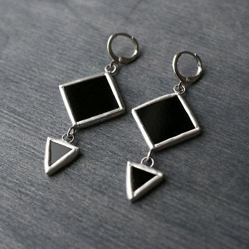 """Серьги """"Ромб и треугольник"""" черные"""