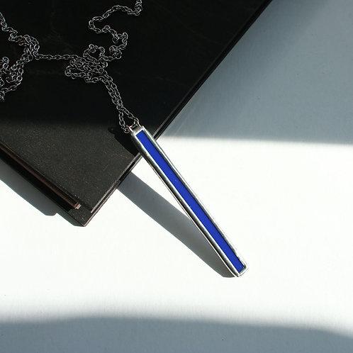 Кулон палочка из синего стекла