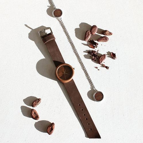 Набор из деревянных часов и кулона (американский орех)