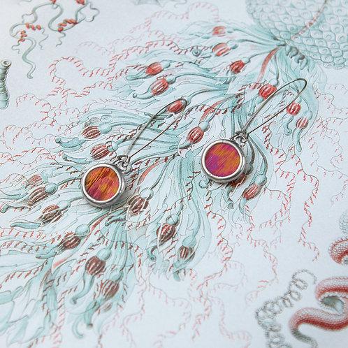 Серьги из редкого стекла с цветным отливом