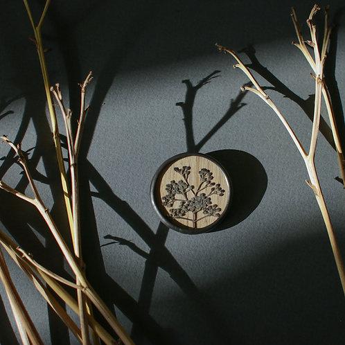 Брошка с гербарием спиреи