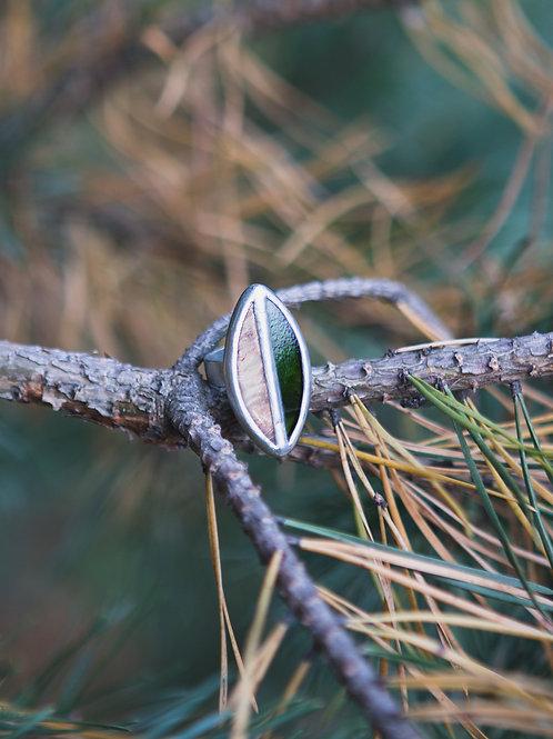 """Безразмерное кольцо  """"Зеленый лист"""""""