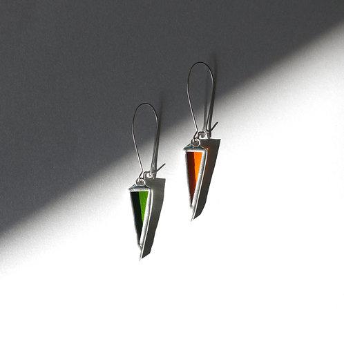 Цветные треугольные серьги