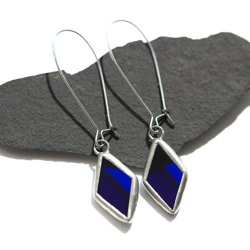 Серьги ромбики из синего полупрозрачного стекла