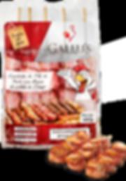 Espetinho Medalhão de Frango Gallu's | Carne Temperada Congelada de Frango com Bacon - Revenda Salvador