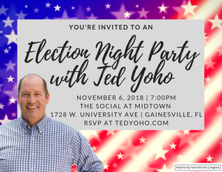 Rep. Ted Yoho Announces Election Night Party