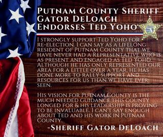 Putnam County Sheriff Gator DeLoach Endorses Yoho
