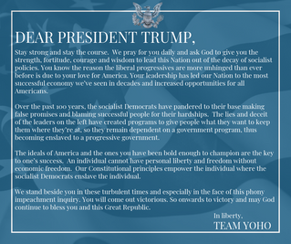 My letter to President Trump