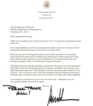 Letter from President Donald Trump to GOP