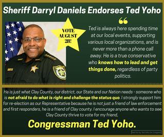 Clay County Sheriff Darryl Daniels Endorses Yoho
