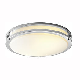 These flush ceiling-mount fixtures feature an integrated LED module, eliminating the need to replace light bulbs. A variety of finishes and sizes are available. An opaque acrylic diffuser and metal finishes make these fixtures suitable in residential, apartment, and hotel applications.