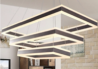 The Phalen pendant is rectangular with up/down light. It comes standard with 0-10V dimming; TRIAC and DALI are optional. Available as single rings or tiers of 2-5 rings.