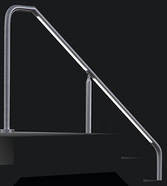 These illuminated handrails integrate low voltage LED lighting, making them suitable for both interior and exterior stairs, ramps, barriers, balconies, and pedestrian walkways. The LEDs can be inserted into custom cutouts as spot lights or linear strips in either standard or high output intensity. The handrails are available as wall-mounted or post-mounted options.