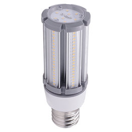 This omni-directional corn bulb features an isolated driver and integrated heat sink for thermal management. The bulb has flame retardant materials and built-in overheat protection in the power supply. If either the lamp body or the driver reaches the thermal cutoff, power is reduced to 70%. If both are triggered, power output is 50%. When it returns to normal, output returns to 100%.