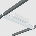 This luminaire is integrated onto a T-bar so it can replace sections of the grid in a suspended ceiling to provide integrated light. Multiple segments can be placed adjacent to create a seamless light flow. It can replace any 2-foot or 4-foot section of grid, allowing a highly flexible lighting layout.