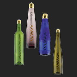 """These LED bulbs are manufactured using recycled beer and wine bottles along with energy-saving """"Curved Filament Plus"""" technology. Available in a variety of original shapes and colors, they are perfect eye-catchers for locations such as wineries, bars, and stylish restaurants."""