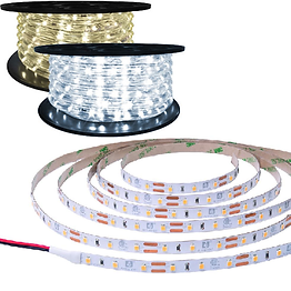 Rope lights are a simple cost-effective solution for decorative lighting where it is not the primary light source. It is a string of LEDs connected with wires and encased in plastic. This design creates ultimate flexibility, allowing the rope to be bend both radially and laterally, and allowing the light to have a 360° viewing angle.  Tape lights are a string of LEDs soldered onto a flexible PCB. This makes it more durable than rope light, but it can only be bent radially due to the PCB. They have an adhesive backing for mounting. Individual LEDs are visible in both the tape light and rope light.