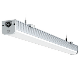 This slim batten light can replace T8 and T12 fluorescent fixtures. It can be surface mounted or ceiling suspended. Multiple segments can be hooked together (up to 200W) to create longer lengths using either a cable or seamless connector.