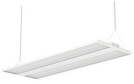 This linear high bay is available in 2-foot and 4-foot lengths. Electronics and optics are separated to lower fixture temperatures, extending the lifespan.