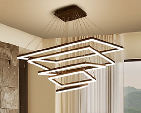 The Myrtle pendant is rectangular with down light. It comes standard with 0-10V dimming; TRIAC and DALI are optional. Available as single rings or tiers of 2-5 rings.