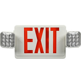 "These emergency exit lights are available as an exit sign, ""frog eye"" lights, or a combination. These mimic the aesthetic of traditional emergency exit signage, but are illuminated with LED and are available with green or red text."