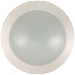 """This slim down light is a flush mount LED fixture that can be mounted junction boxes and replaces standard 4"""" and 6"""" recessed housings. It is composed of a polycarbonate lens with an aluminum ring."""