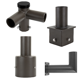 """These mounting accessories can be used to mount 1-4 fixtures. These adapt to existing 4"""" or 5"""" round and square poles. It also supports wall mounting. Supports 2 3/8"""" tenon."""