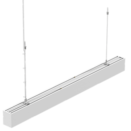This LED linear light has a sleek aluminum profile and can  be installed suspended or ceiling mounted. The uniform light distribution prevents individual light spots from being seen. This architectural fixture is suitable for hotels, conference rooms, offices, and hospitals.