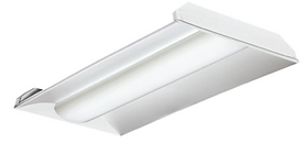 This volumetric troffer retrofit kit easily converts 2x2 and 2x4 fluorescent troffers to the most current LED technology. It comes completely assembled as a lensed kit, requiring only one minute to install while utilizing the existing fixture housing for minimal waste. The kit provides all the components needed to perform the change-out quickly and efficiently, allowing for system upgrades without disturbing the ceiling.