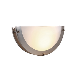 """This wall sconce is a half circle that only extends 3 5/8"""" from the wall. The integrated LED array gives off lumens roughly equivalent to a 60W incandescent bulb, making it suitable as ambient lighting or decorative lighting in locations such as offices, lobbies, hotels, and restaurants."""
