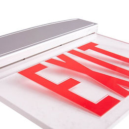 These exit signs are edge-lit. They can be recessed mounted or they can be surface mounted--either back or flag style. Installation hardware includes adhesive chevron arrows and templates for their installation. The 4.8V NiCd batter provides a minimum of 90 minutes illumination.