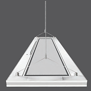The illumination surface on this pendant light is translucent when powered off. When on, it provides up and down light to produce low glare. 320W can be connected with 120V source; 640W can be connected with 227V.