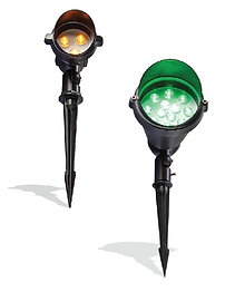 This flood light has a spike to place it in the ground. It is available in RGB and single color. The fixture has a light shield to direct light and prevent stray light.