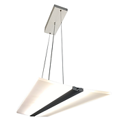 """US Luminaire's Everett series LED pendants are sure to impress. Utilizing an aluminum frame, 0.3"""" solid acrylic lens and both down light and up light with a 360-degree spread, these provide a sleek option for architectural design. The Everett series is designed to suspend from the ceiling and multiple fixtures can be interconnected as a long linear fixture. The Everett series is ideal for offices, reception areas, boardrooms, and anywhere else elegance is desired. Standard colors are silver and white. Additional colors are black and bronze."""
