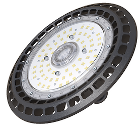 This round high bay replaces traditional HID high bay fixtures. The optional microwave sensor is integrated in the fixture to eliminate wiring, reducing installation time.