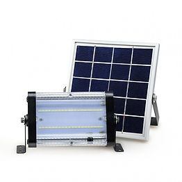 This solar flood light features a separated solar collector and light emitter, allowing for more flexibility in installation. It is suitable for use as either a flood light or a wall pack in applications such as building exteriors, parks, billboards, covered porches, and residential areas. The 4 meter cord allows for the light fixture to be places in areas without direct sunlight.