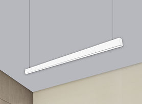 This linear streamline fixture can have 100% downlight, 100% uplight or a 50/50 split. Multiple lens options are available.