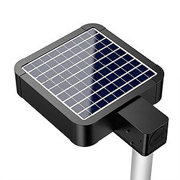 Suitable for area lighting in paths and parking lots. The fixture can mount to a 60 mm pole from either the bottom or back. The battery can charge in as little as 10 hours of full sun. The fixture automatically dims after inactivity, allowing for usage for up to 6-8 nights (10 hours at full power).