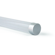 This cylindrical pendant has a 360 degree beam. The end caps can be custom colors. It can be mounted either as a horizontal or vertical pendant. The fixture supports TRIAC dimming, 0-10V dimming, and DALI.