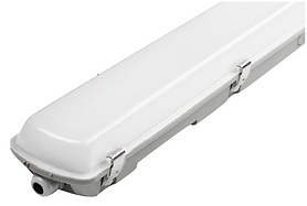 This linear fixture is vapor tight and has an optional motion sensor and emergency battery. It is suitable for use in parking garages, food processing facilities, and warehouses. The light source is removable for easy maintenance over the life of the fixture.