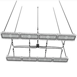 This grow light contains 8 modules which can be configured in a variety of shapes. Each module features a built-in heat sink to eliminate the need for fans. The linear shape allows it to illuminate large areas while minimizing the blocked sunlight in greenhouse applications.