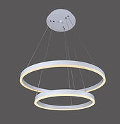 The Crystal pendant is circular with down light. It comes standard with 0-10V dimming; TRIAC and DALI are optional. Available as single rings or tiers of 2-5 rings.