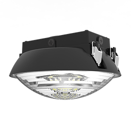 """This round garage fixture can be surface mounted or pole mounted. It has an optional microwave sensor with integrated daylight sensing. The sensor has predetermined programs for dimming options, or it can be customized. This fixture can be mounted flush, with a hook, or with a standard 1/2"""" pole."""