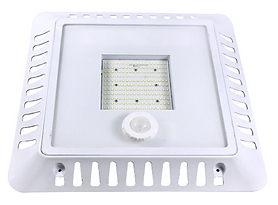 This canopy fixture is surface-mounted. Ideal for use in gas stations and parking garages. Suitable for indoor and outdoor use, this fixture has an optional motion sensor.