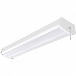 This linear fixture is surface mounted and ideal for use in utility spaces such as closets. It has an option with a pull chain or a motion sensor.